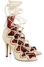 NIB $1165 ISABEL MARANT Lelie snake-effect leather lace up sandals FR 38/ US 7