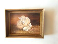 DORIS SHAW Oil on Canvas Framed Signed Rare Unique Lambs Excellent Condition