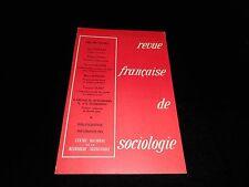 Revue française de sociologie April/june 1973