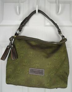 Dooney & Bourke Green Logo Fabric Hobo Bag