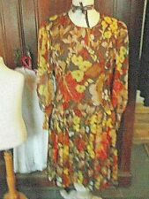 Vintage Robe fluide motifs floraux automne
