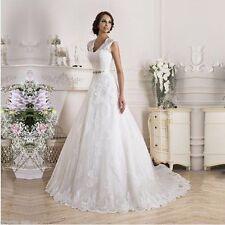 2017 NEU Spitze A-Linie Brautkleid Langarm Hochzeitskleid Abendkleid Gr. 34 -48