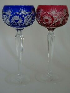 TWO VINTAGE ROEMER WINE GLASSES CRYSTAL  CUT BLUE AND RED COLORS
