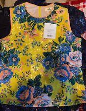 RRP €285 DIANE VON FURSTENBERG Sequins Top Blouse Size L Floral Sleeveless