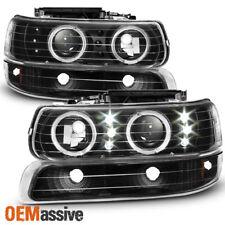 Fit 99-02 Silverado 00-06 Suburban Black Halo LED Projector Headlights Bumper