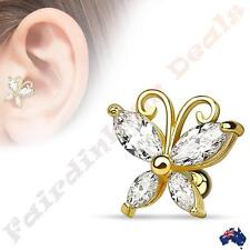 14Kt Gold Ion Plated Butterfly Tragus/Cartilage Stud with Clear CZ Wings