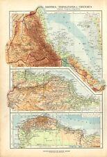 Carta geografica antica ERITREA TRIPOLITANIA ITALIA De Agostini 1927 Antique map