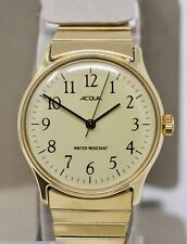 Vintage 80s Mint Boxed NOS Timex Acqua Mens Watch, Gold Tone Hand-Winding