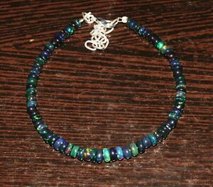 Natural Ethiopian Welo Fire Opal Black Roundel beads Bracelet 925 silver 94