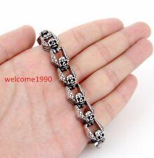 """Heads Link Chain Bracelet(8.66""""x 15mm) Women Mens Biker Stainless Steel Skull"""