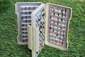 Waterproof Double sided Fly box + 180 trout fishing flies size 12 & 14.