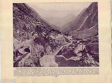 1893 Book Plate Print Wassen Switzerland Train Falls Rhine Schaffhausen Railroad