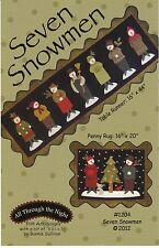 Seven Snowmen Bonnie Sullivan Wool Applique Table Runner Christmas Quilt Pattern