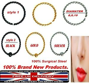 Brand New 100% Surgical Steel Ring Hoop Captive Bead Nose Lip Ear Eyebrow ring