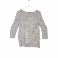 J Jill Women's Open Knit Linen Cotton Sweater Crew Neck Top Tan Size S