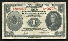 1943 1 GULDEN NEDERLANDSCH-INDIE NETHERLANDS BANKNOTE