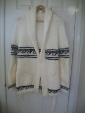 VINTAGE HAND CRAFTED KNIT WHITE SWEATER WITH BELT AND BLACK/GRAY DESIGNS MED/LRG