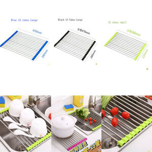 Roll Up Folding Over the Sink Dish Drying Rack Stainless Steel Holder Mat Tray