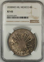 1838-MO ML Mexico 8 Reales Silver Coin NGC XF-45