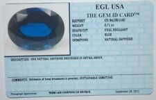 EGL USA TESTED & CERTIFIED NATURAL BLUE OVAL BRILLIANT SAPPHIRE 0.71CT