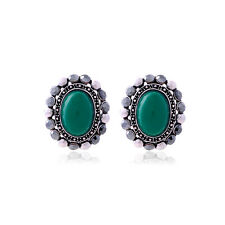 LOVELY ANTIQUE SILVER PLATED GREEN ENAMEL AND CRYSTAL OVAL STUD EARRINGS