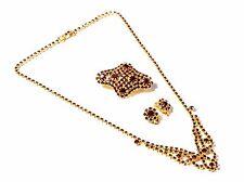 Vintage Czech gold tone black glass rhinestone necklace pin brooch earring set