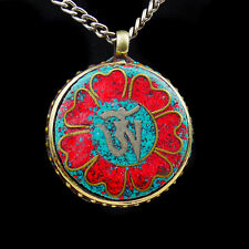 Colgante Medallón AMULETO BRONCE Rojo Talismán flores Tibetano Budismo T41