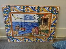 Vintage Ceramic Picture Tiles Painted Sea & Boat Scene Majolica Spanish theme