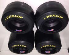 Set of Dunlop QMA Racing Go Kart Tires & New VanK Black Anodized Aluminum Wheels