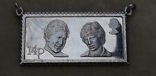 Sterling Silver G.L & F 14p Postage Stamp Pendant Prince Charles Princess Diana