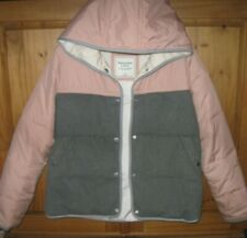 Abercrombie & Fitch Women's Coat Jacket Puffer color Block Gray Pink Medium
