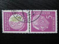 GERMANY Mi. #S41 scarce used Heuss stamp pair! CV $4.55