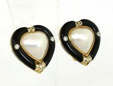 Vintage 18k Y/Gold 1.25ctw Diamond, Onyx & Mabe Pearl Stud Earrings Omega Back