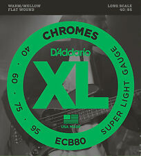 D'ADDARIO ECB80 CHROMES FLATWOUND BASS STRINGS, SUPER LIGHT GAUGE 4's- 40-95