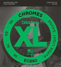 D'ADDARIO ECB80 CHROMES FLATWOUND BASS STRINGS, SUPER LIGHT GAUGE 4's- 40-95