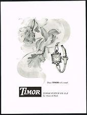 1950 Vintage Timor Watch Co. Ladies Watch Mid Century Modern Orchid Art Print AD