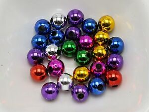 200 Mixed Metallic Color Acrylic Round Beads 8mm Christmas Beads