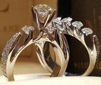 Fashion Women 925 Silver Wedding Set Rings Round Cut White Sapphire Size 6-10