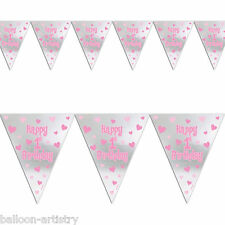 3.65m Happy 1st First Birthday Girl Party Foil Pennant Flag Banner Bunting