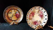 2 Hand Decorated Decorative Plates wth Stands