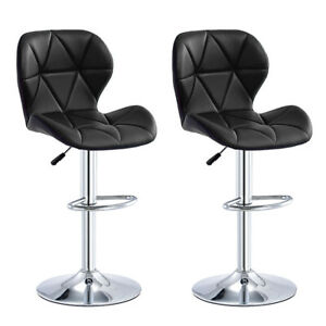 2pc Bar Stools Leather Chairs Breakfast Chairs Swivel Gas Lift Kitchen Cushioned