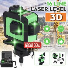 16 Line 360 Horizontal Vertical Cross 3D Green Light Self-Leveling Laser Level