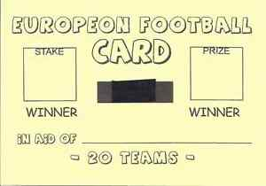 25 European Football Team Name Fundraising Card - 20 Spaces