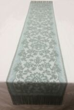 """Heritage Lace Chantilly 15.5 x 83"""" SageFringed Scarf/Sash/Table Runner"""