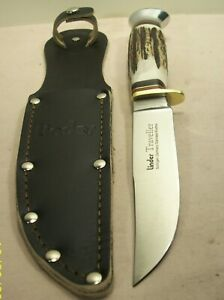 1980s~LINDER~SOLINGEN~MINT CONDITION~GERMAN STAG SPORTSMAN'S KNIFE +ORIG. SHEATH
