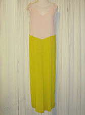 BEAUTIFUL ANNA & BOY NUDE PINK&CHARTREUSE MAXI DRESS size 1 AUS 12/US 6