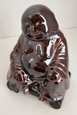 Vtg Happy Buddha Shiny Brown Glazed Ceramic Figurine with Separate Base