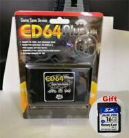 ED64 Plus Game Save Device Cartridge USA-JAPAN-EUROPE N64 GAMES US with 16GBCard