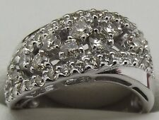 SOLID 18CT WHITE GOLD 44 X NATURAL DIAMOND DRESS RING VALUED AT $3300