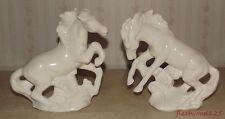 "2 White Glaze Ceramic Horse Figurines Statues - 8"" T x 7"""